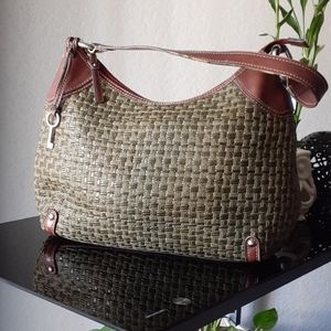 Fossil forest green weaved purse with leather